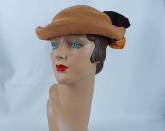 Vintage 1930s Hat NOS NWT Mustard Straw Curled Brim by Ilten Sz 22