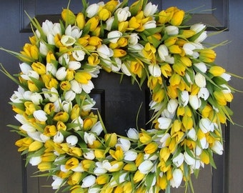 SUMMER WREATH SALE Spring Wreath- Tulip Spring Wreath- Summer Wreath- Spring Sunshine- Spring Yellow Tulips Decoration- Easter Wreath Spring
