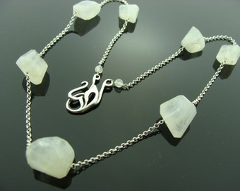 Rainbow Moonstone 925 Sterling Silver Necklace
