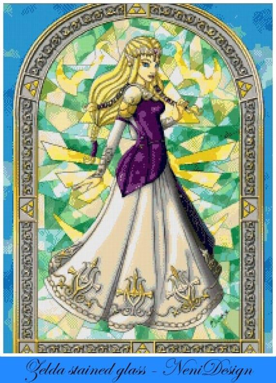 The Legend Of Zelda Zelda Stained Glass Cross Stitch