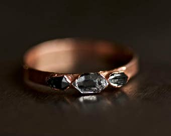 READY TO SHIP. Copper Electroformed Herkimer Diamond Ring. Herkimer Ring. Dainty Gemstone Ring. Electroformed Ring. Copper Ring