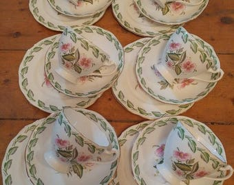 Vintage Memphis Roslyn Nu Era China Tea Set Cups Saucers And Side Plates With A Green Leaf And Pink Floral Detail