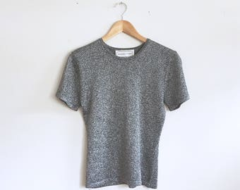 Disco Tee   Vintage Top   Silver Glitter Sparkling Short Sleeve Top   XS-S