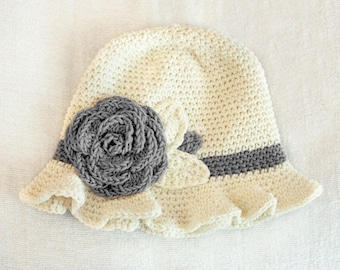 6 to 12m Crochet Sun Hat Baby Hat in Cream and Ash Grey - Crochet Rose Flower Hat Cloche Hat Baby Girl Baby Flapper Girl Prop