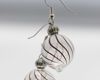 Clear Glass Spheres with Chocolate Stripes