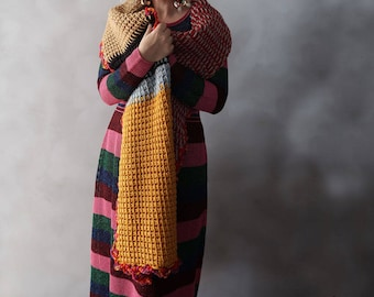 Chunky Knit Scarf, Oversized Scarf, Extra Long Scarf, Bulky Scarf, Thick Knit, Multicolor Scarf, Huge Scarf, Chunky Scarf, Gift for Her