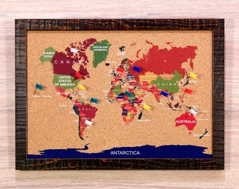 Push pin globe etsy cork world map travel push pin board corkboard s bulletin memo notice message photo note framed gumiabroncs Image collections