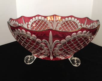 Ruby Red Pressed Flash Glass Large Three Footed Bowl