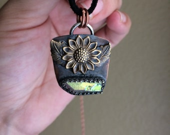 Sunflower & Angel Aura Necklace