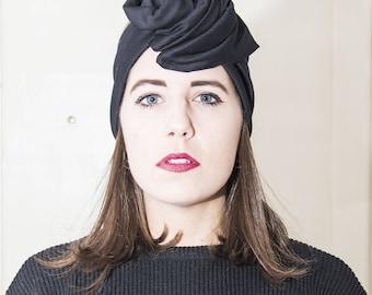 Fascia/turban/headband in black wool blend in Maxmara fabric