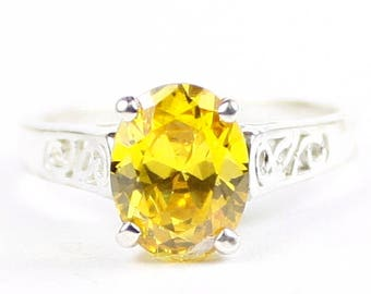 Golden Yellow CZ, 925 Sterling Silver Ring, SR366