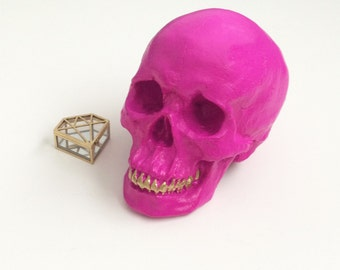 ANY COLOR Life Size Human Skull Replica // Desk Sculpture // Gothic Decor // Table Centerpiece // Faux Taxidermy Curiosities // Home Accents