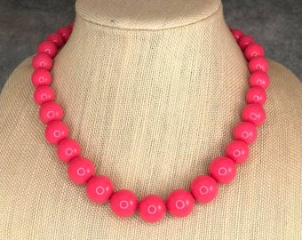 Statement Necklace, Pink, Beaded Necklace, Coral, Chunky Necklace, Round Bead Necklace, Pink Bead Necklace, Big Bead Necklace, Big Necklace