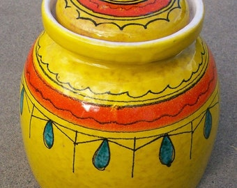 Original Vintage I. Magnin Canister // 1960s 1970s Yellow Southwestern Style Art Pottery // Container with Lid