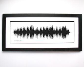 Harvest Moon - Music Sound Wave Wall Art Print, Unique Home Decor.