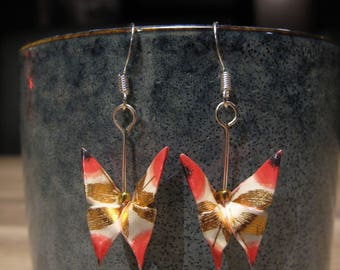 Origami paper butterfly earrings white red & gold