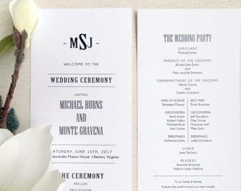 Wedding Program  | Ceremony program  | Double Sided Programs - Style P53 - TUXEDO COLLECTION