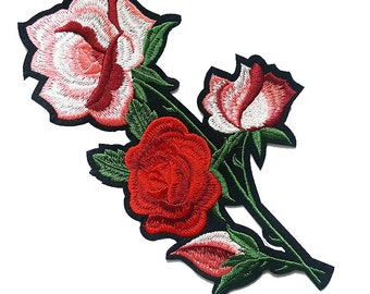 Iron On Roses Flower Embroidered Patch Applique, Iron On Red Flower Image Transfer