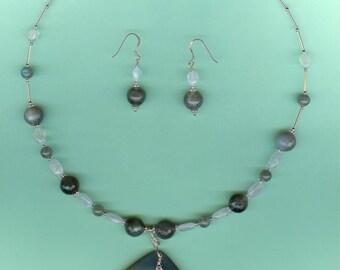 NECKLACE SET  Agate, Moonstone, Labradorite Sterling Silver Set