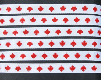 "12Yd Red Maples 3/8"" White Grosgrain Ribbon"