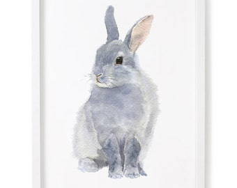 Rabbit Print, Bunny Watercolor Print, Rabbit Art