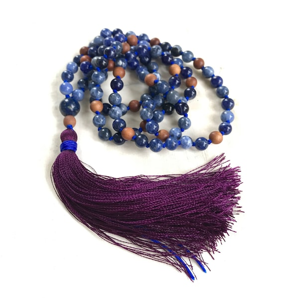 Sodalite and Lapis Lazuli Mala Beads, Mala For Emotional Balance and Good Judgment, Sandalwood Beads and Silk Tassel, 108 Mala Beads