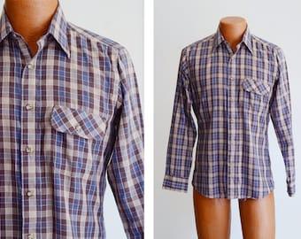 "1980s Purple Plaid Shirt - Small 38"" Chest"