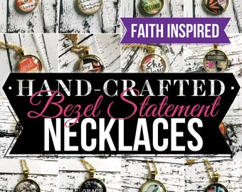 Faith Inspired Glass Bezel Statement Long Gold Chain Necklaces
