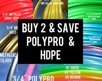 DOUBLES - Buy 2 Save 15% POLYPRO and HDPE Doubles Dance & Exercise Hula Hoop sale collapsible with push button