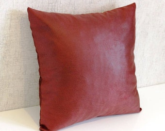 Leather-looking Pillow Cover, Claret Red Pillow Cover, Leather Pillow Cover, Decorative Pillow, Modern Pillow, 16x16 Pillow Cover