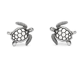 Sea Turtle Stud Earrings #030 - Sea Turtle Earrings, Animal Earrings, Ocean Earrings, Dive Jewelry, Ocean Lover Gift, Silver or Gold