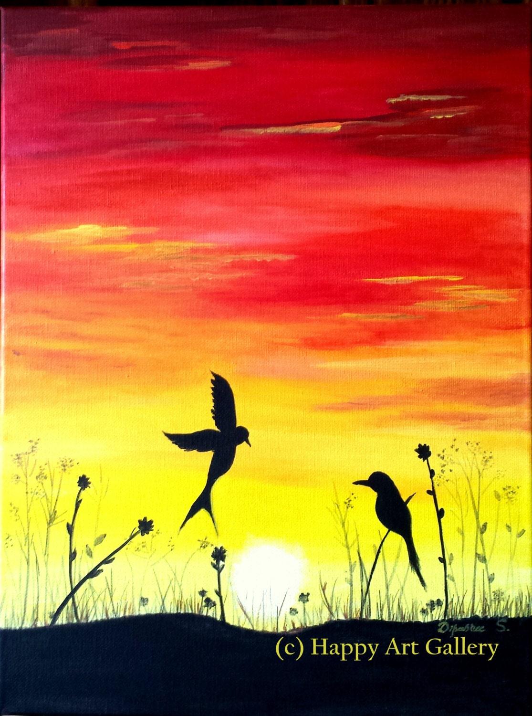 Sunset Birds-Vibrant Sunset scene birds returning to nests