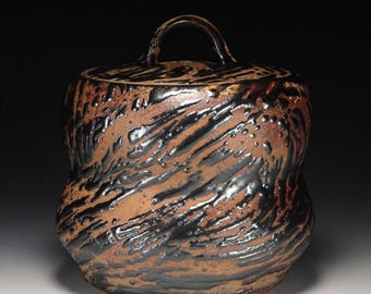 Mizusashi Mishima Tenmoku Covered Jar on Chocolate Stoneware Wabi Sabi