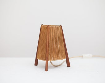 Vintage 1950s Teak table lamp tripod table Lamp 50s mid century Danish modern
