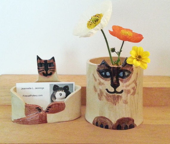 Custom cat business card holder desk set of 2 hand made art like this item colourmoves Choice Image