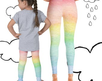 Mommy and Me Leggings Girls - Rainbow Pastel, Mommy Daughter Leggings Ombre, Matching Mom Daughter Pants, Rainbow Mommy and Me Yoga Pants