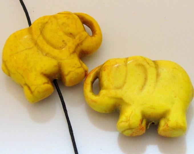 2 BEADS - Yellow  howlite  turquoise elephant shape bead pendant - GM0316C