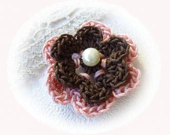 double Brown and pink crochet flower
