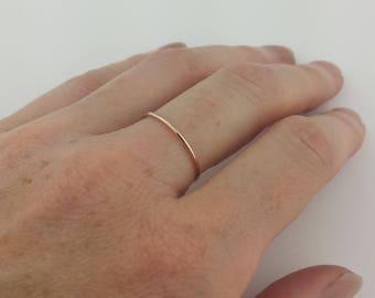 18 Gauge Solid 14k Rose Gold Ring, Solid Rose Gold Stacking Ring, 1mm Rose Gold Ring, Thin Rose Gold Ring, Rose Gold Stacking Ring