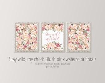 Stay wild my child 11x14 Nursery wall art set of three printables Floral collage art Flower nursery art Girl nursery HEART OF LIFE Design