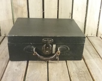 Antique Suitcase, Wooden Suitcase With Key
