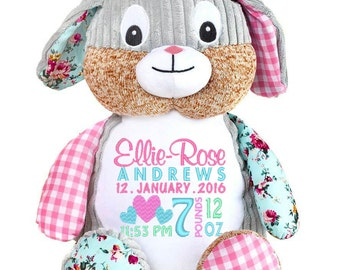 Bunny Stuffed toy, Personalised Toy, Newborn gift, Baby gift, Christening, Christmas, Naming Day, Keepsake, Birth Announcement, Cubbies,