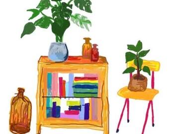 minimalist colourful houeplant print