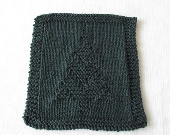 Christmas Washcloth, Wash Cloth, Dishcloth, Dish Cloth, Christmas Tree Design, Winter, Hand Knit, Cotton, Green