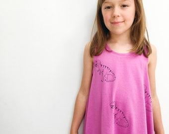 Fun kids clothes, handmade dress, Dinosaur print girls dress