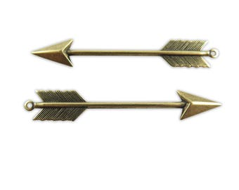 Antiqued Brass Arrow Pendants (2x) (M798-E)