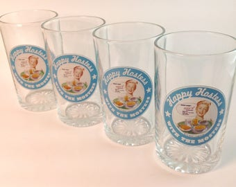 Vintage Set of Happy Hostess With The Mostess Juice Glasses Set of 4 Retro Breakfast Glass Set Kelloggs Promotional Gifts