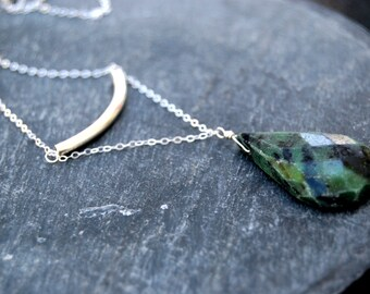 savanna... silver ruby zoisite bar necklace / sterling silver & ruby zoisite / curved bar necklace