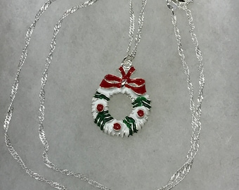 Christmas Wreath Charm On Sterling Silver Chain Necklace