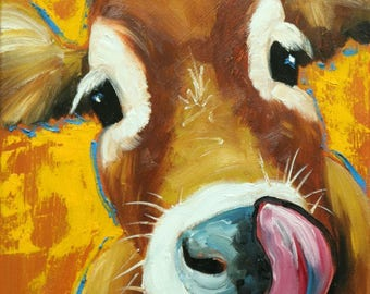 Cow painting 1251 12x16 inch original animal portrait oil painting by Roz